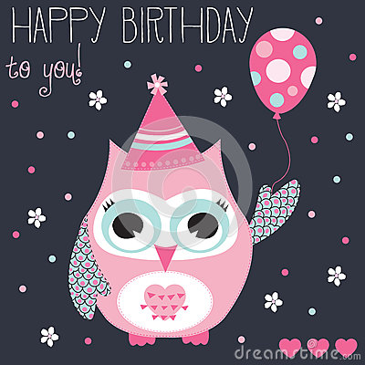 Happy Birthday Owl Vector Illustration Stock Vector