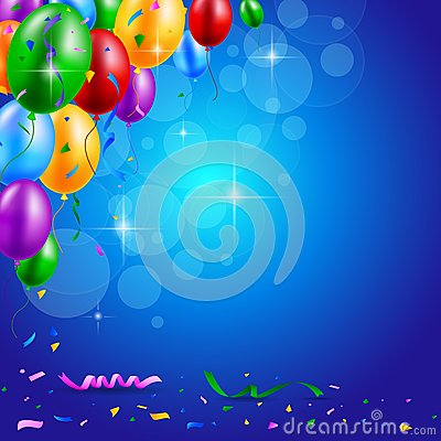 Free Happy Birthday Party With Balloons And Ribbons Background Royalty Free Stock Image - 54514466