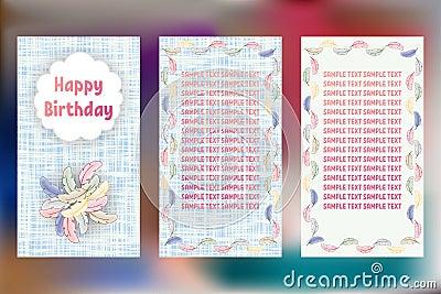 Happy birthday pastels greeting cards three different vector happy birthday pastels greeting cards three different vector patterns card in shades of blue m4hsunfo