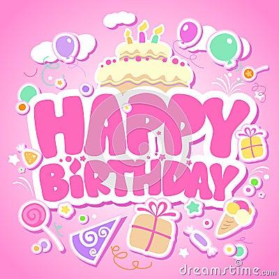 Free Happy Birthday Pink Card. Royalty Free Stock Photo - 23300105
