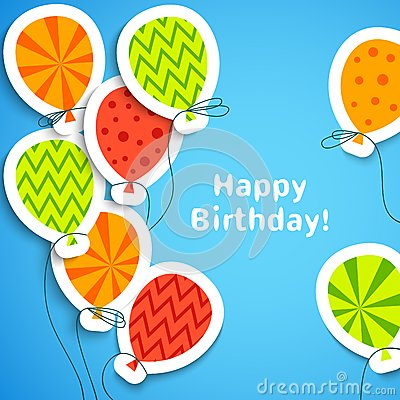Free Happy Birthday Postcard With Balloons. Vector Stock Photography - 37431892