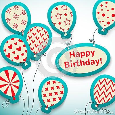 Happy birthday retro postcard with balloons.