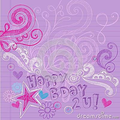 Happy Birthday Sketchy Notebook Doodles Vector