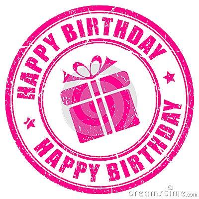 Free Happy Birthday Stamp Royalty Free Stock Photo - 49664555
