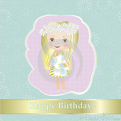 Happy birthday - sweet small fairy girl with flower  illustration