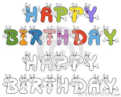 Happy Birthday Cartoon Letters