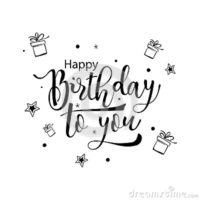 Free Happy Birthday To You. Hand Drawn Calligraphic Lettering. Royalty Free Stock Image - 111191326