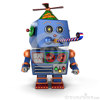Free Happy Birthday Toy Robot Royalty Free Stock Photo - 31553295