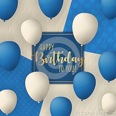 Free Happy Birthday Vector Card Design With Flying Balloons. Vintage Trendy Background. Royalty Free Stock Photography - 115921347