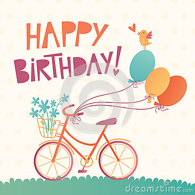 Free Happy Birthday Vector Card With A Bicycle Stock Image - 49756851