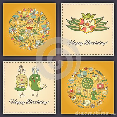 Free Happy Birthday Vector Greeting Card With Abstract Doodle Birds And Flowers. Stock Photography - 116154622
