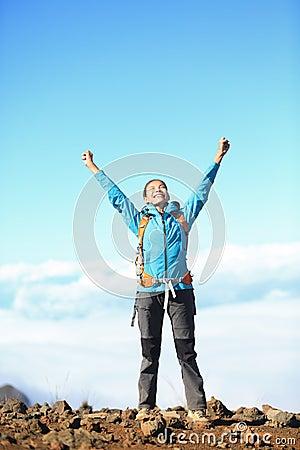 Happy blissful hiker woman