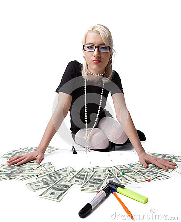 Happy blond business woman prowd of money