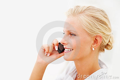 Happy Blond female speaking on  mobile phone