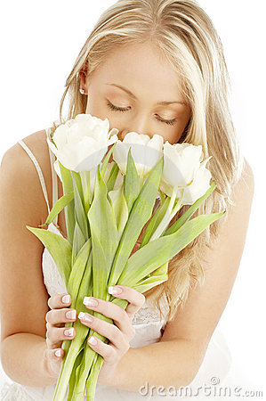 Free Happy Blond With White Tulips Royalty Free Stock Photography - 2168087