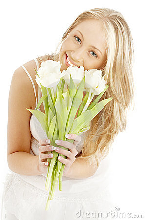 Free Happy Blond With White Tulips Royalty Free Stock Image - 2168186