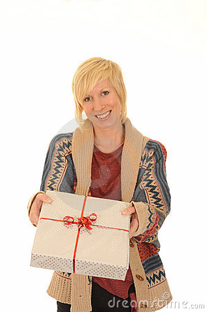 Happy blond woman with gift