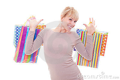 Happy blonde with shopping bags