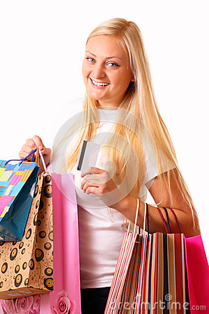 Happy blonde shopping woman