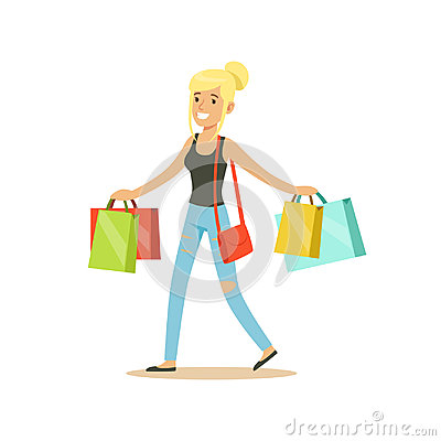 Happy blonde woman in a casual clothes walking with shopping bags colorful character vector Illustration Vector Illustration