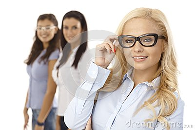 Happy woman smiling in glasses