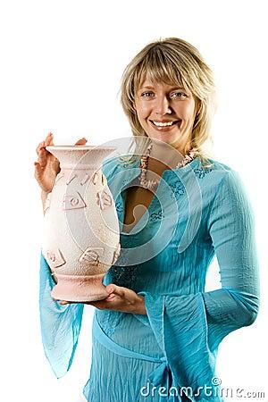 Happy blondie with flower pot
