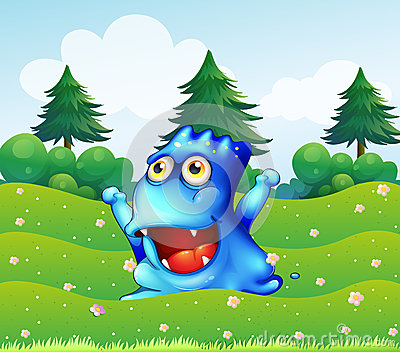 A happy blue monster near the pine trees