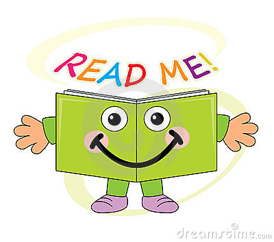 Happy book mascot - read me!
