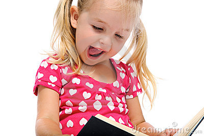 Happy book read for young girl