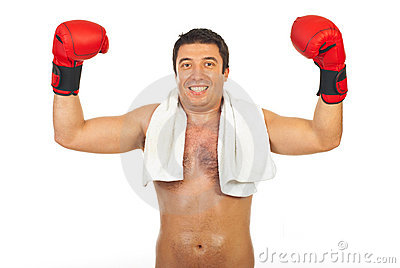 Happy boxer man winner