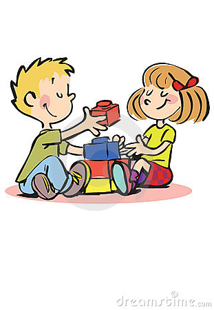 Free Happy Boy And Girl Playing With Bricks Stock Photos - 8285073