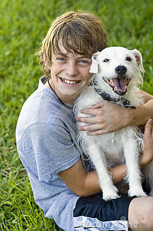 Free Happy Boy And His Dog Stock Images - 9673864