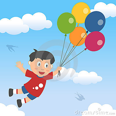 Happy Boy with Balloons