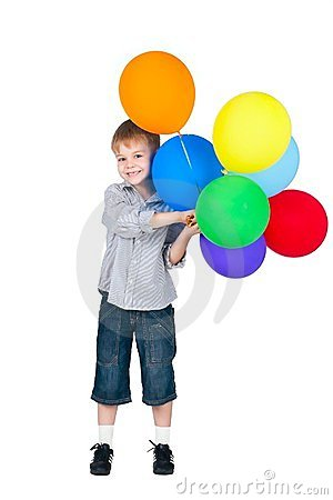 Happy boy with balloons isolated on white