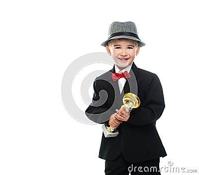 Happy boy in black suit