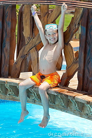 Free Happy Boy By Pool Stock Photography - 20338512