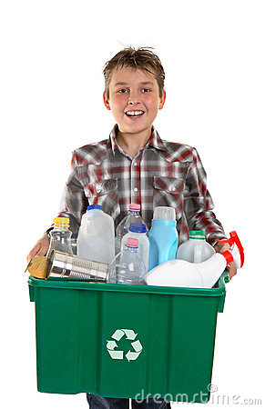Free Happy Boy Carrying Rubbish For Recycling Stock Images - 14596474