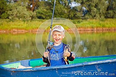 Happy boy with catch