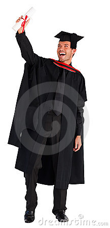 Happy boy celebrating his graduation