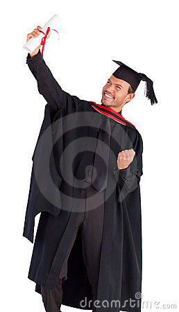 Happy boy celebrating with success his graduation