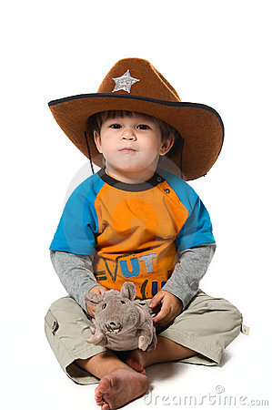 Happy boy in cowboy hat  with rat