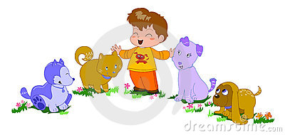 Happy boy with dogs vector