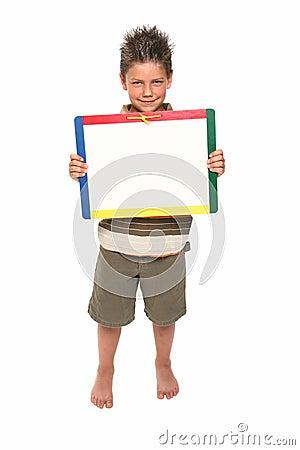 Happy Boy with Dry Erase Board