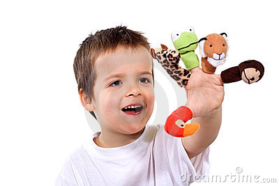 Happy boy with finger puppets