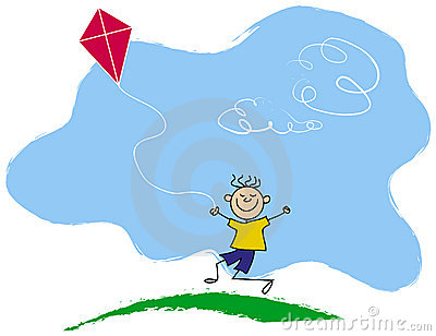 Happy boy flying kite
