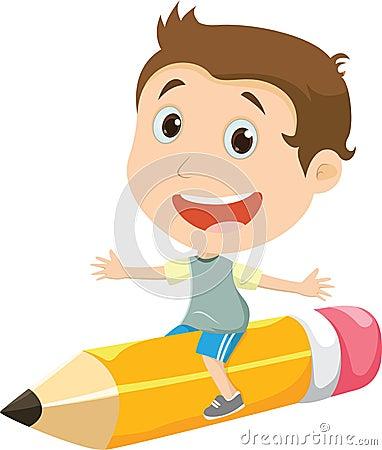 Happy boy flying on a pencil Vector Illustration