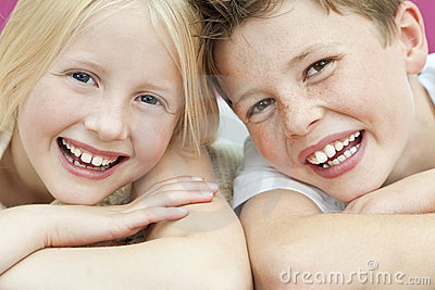 Happy Boy & Girl Brother and Sister Laughing