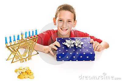 Happy Boy on Hanukkah