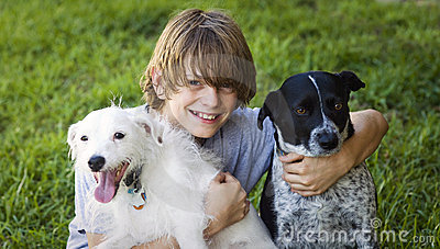 Happy Boy and his dogs