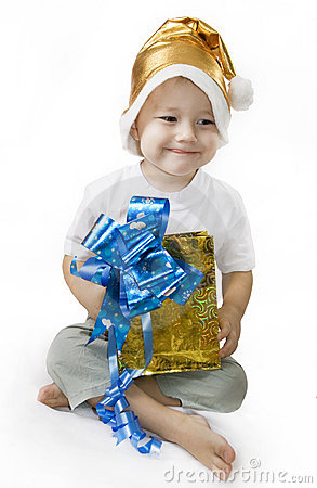 Happy Boy holding a gift